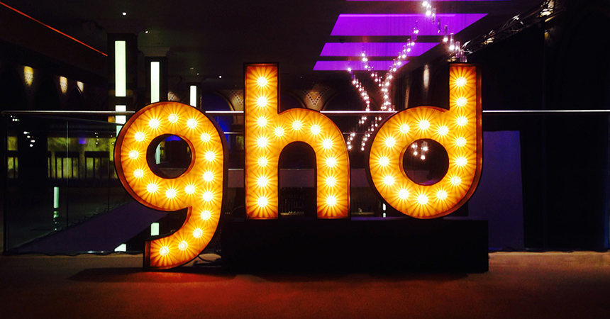 Custom made illuminated signs for GHD : The Big Booth